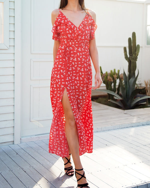 Thailand Floral Print Beach Maxi Dress - Red | Flirtyfull.com