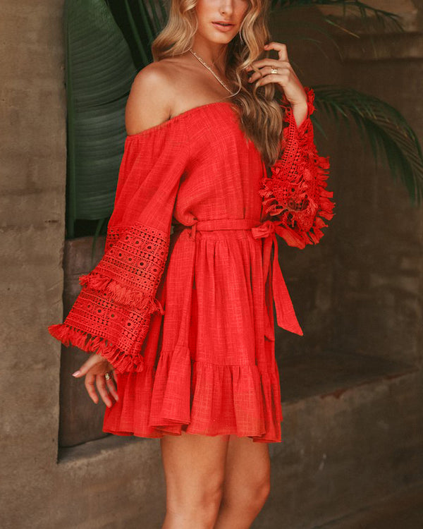 This is How We Do Off the Shoulder Tassel Dress - Red | Flirtyfull.com