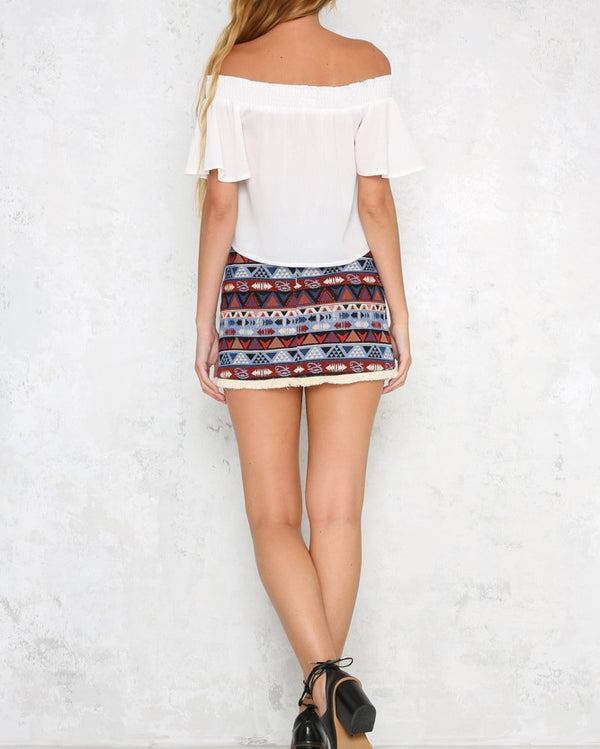 Tipi Bohemian Tribal Mini Skirt | Flirtyfull.com