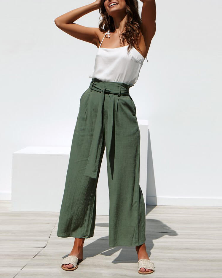 84e9612fa6 Tokyo High Waisted Linen Belted Pants - Army Green
