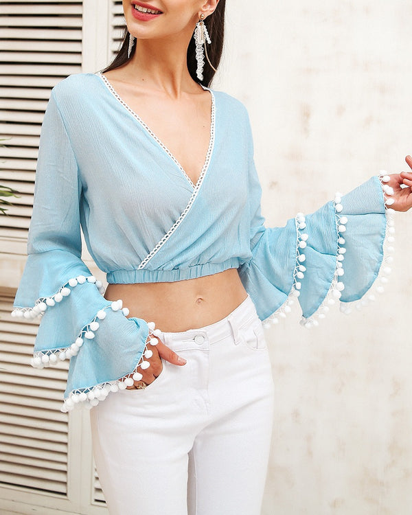 Tracy with Tassel Sleeve Blouse - Blue | Flirtyfull.com