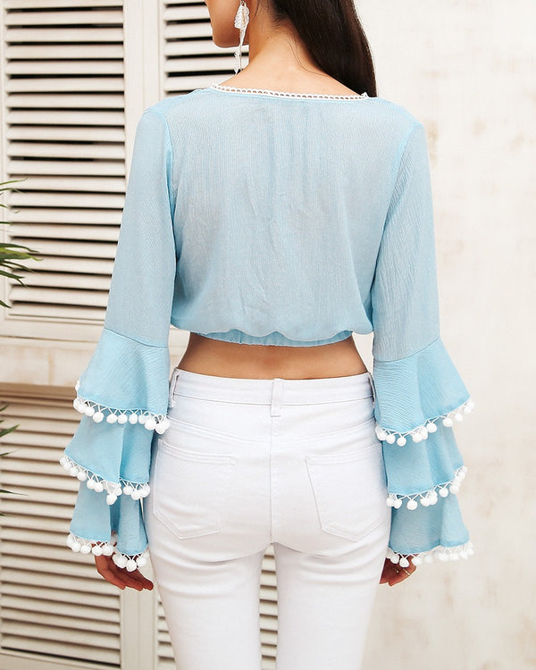 Flirtyfull Tracy Baby Blue Casual Blouse | Flirtyfull.com | Shop Women's Clothing & Fashion Online