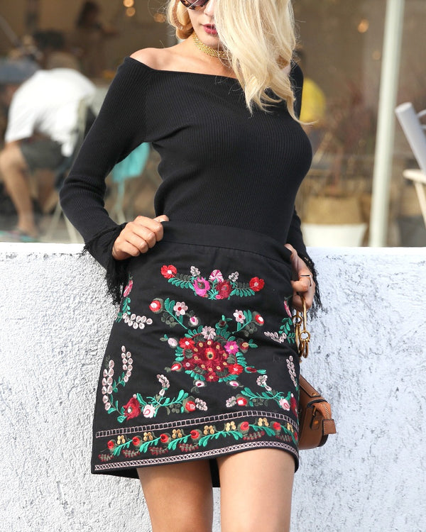 Trinity Embroidery Mini Skirt - Black | Flirtyfull.com