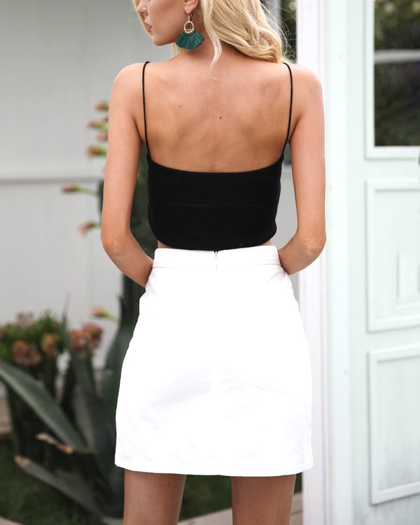 Trinity Embroidery Mini Skirt - White | Flirtyfull.com