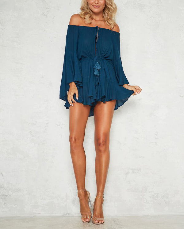 True Colors Flare Sleeve Off the Shoulder Playsuit - Navy | Flirtyfull.com