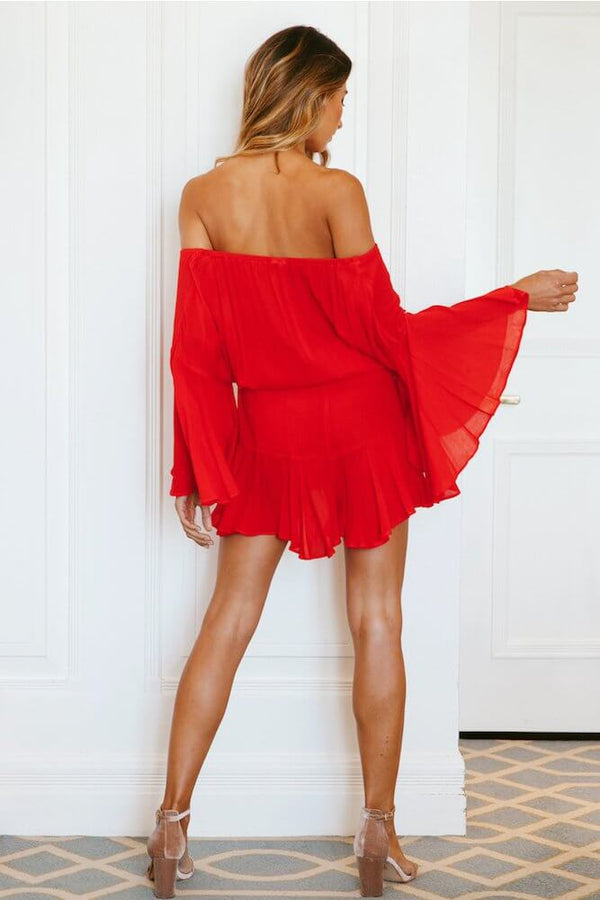 True Colors Flare Sleeve Off the Shoulder Playsuit - Red | Flirtyfull.com