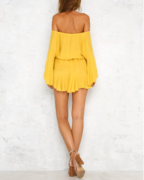 True Colors Flare Sleeve Off the Shoulder Playsuit - Yellow | Flirtyfull.com
