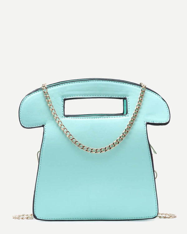 Flirtyfull Turquoise Telephone Handbag With Chain Cossbody Bag | Flirtyfull.com