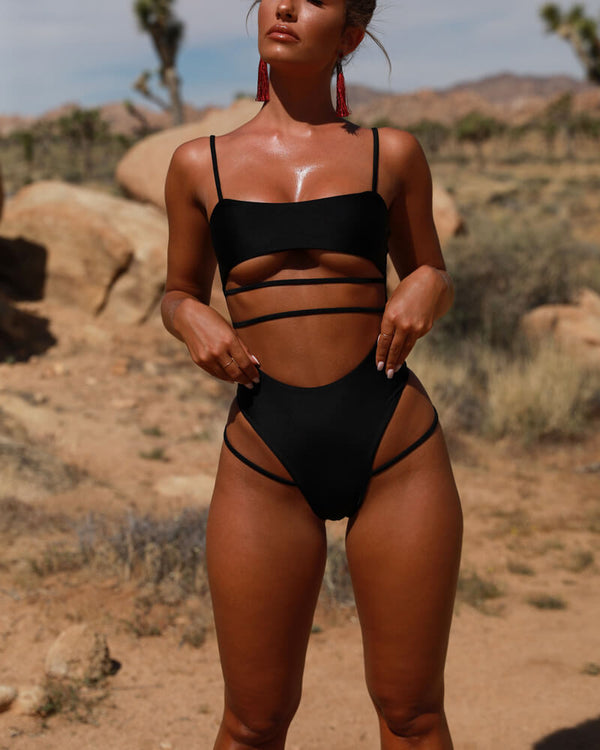 Ursula Cut Out One Piece Swimsuit - Black | Flirtyfull.com