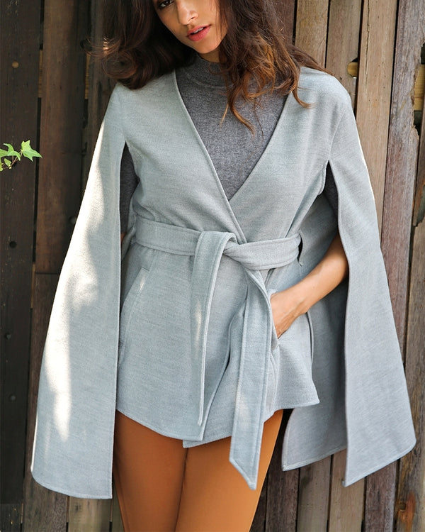 Flirtyfull Valencia Grey Cape Winter Overcoat | Flirtyfull.com | Shop Women's Clothing & Fashion Online