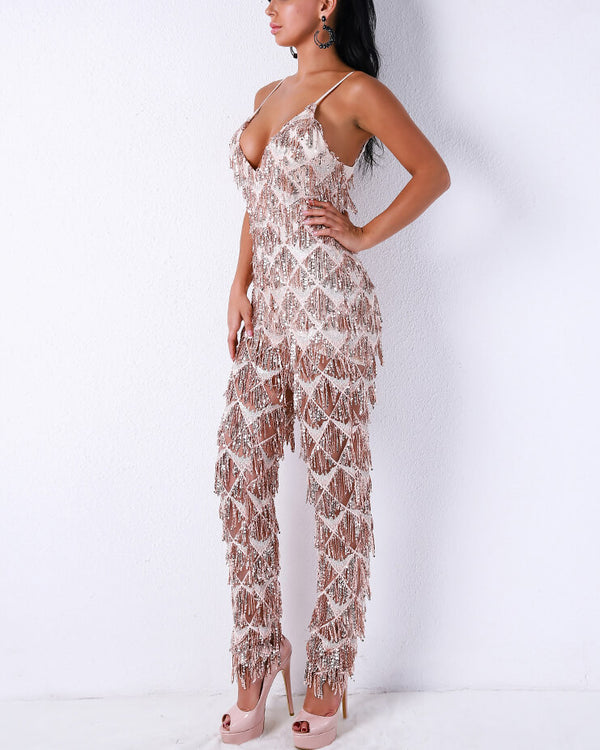 Vienna Sequined Tassel Jumpsuit - Rose Gold | Flirtyfull.com