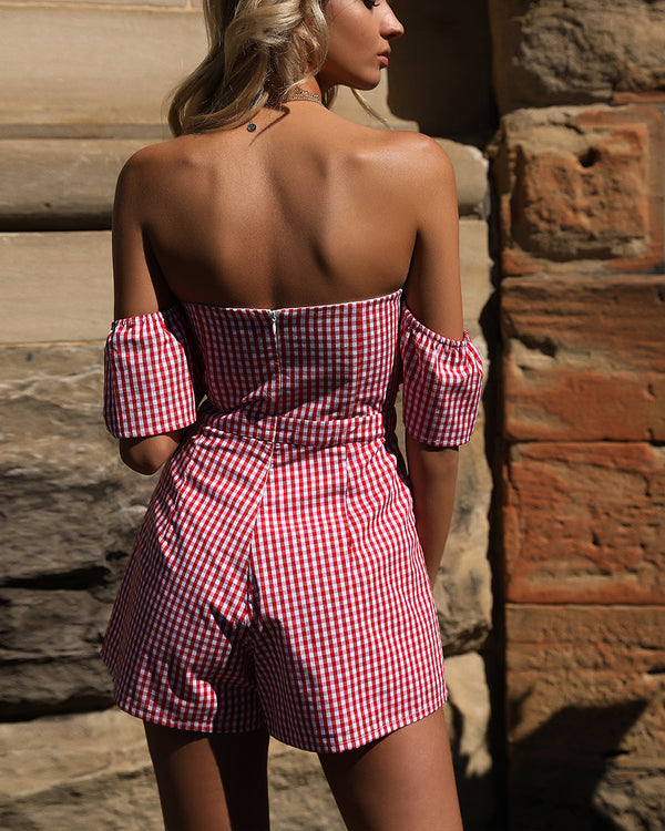 Whimsical Off the Shoulder Gingham Playsuit - Red | Flirtyfull.com
