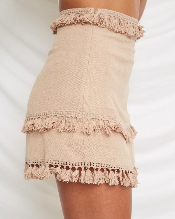 Wildflower High Waisted Boho Tassel Skirt - Beige | Flirtyfull.com