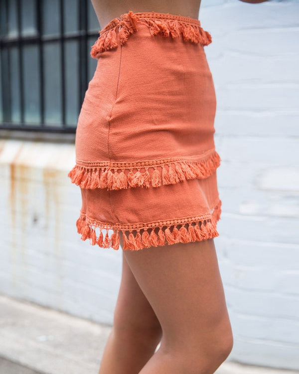 Flirtyfull Wildflower Orange High Waisted Boho Tassel Skirt | Flirtyfull.com