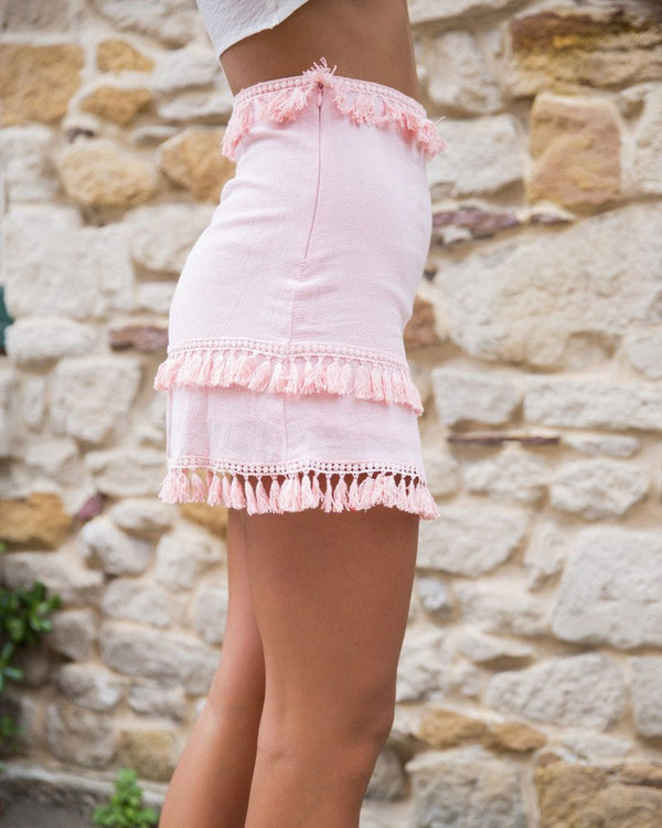 Wildflower High Waisted Boho Tassel Skirt - Pink | Flirtyfull.com