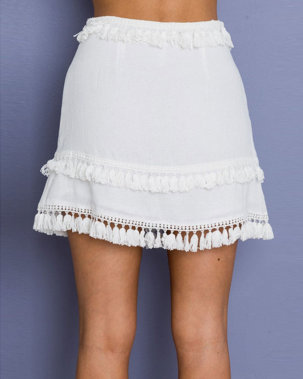 Wildflower High Waisted Boho Tassel Skirt - White | Flirtyfull.com