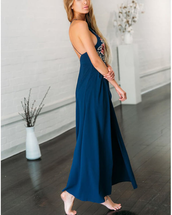 Flirtyfull You Make Me Wonder Navy Formal Jumpsuit | Flirtyfull.com