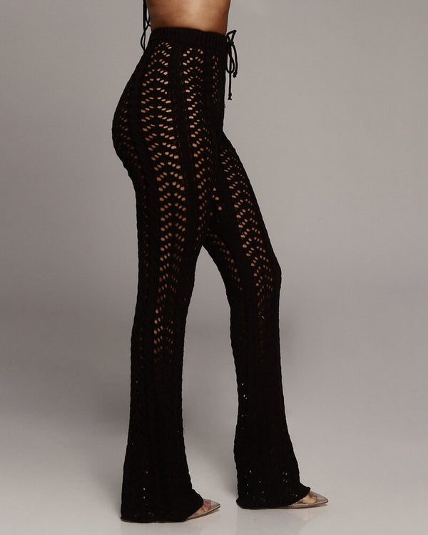 Zanzibar High Waisted Crochet Knitted Pants - Black | Flirtyfull.com