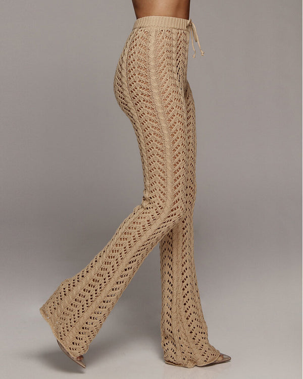 Zanzibar High Waisted Crochet Knitted Pants - Camel | Flirtyfull.com