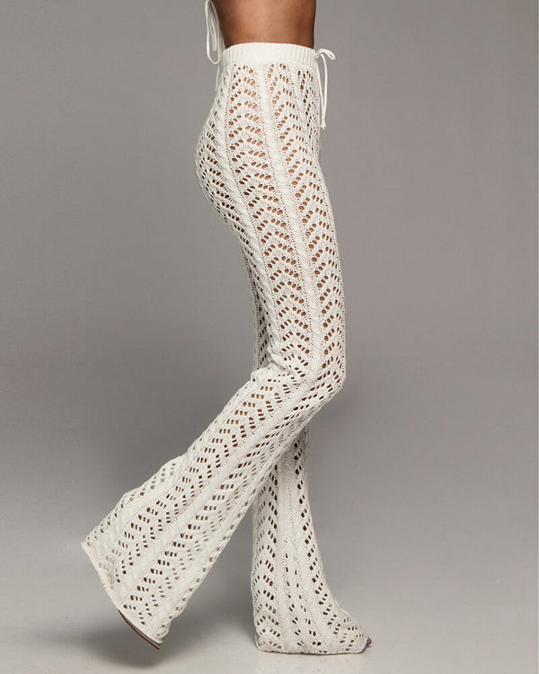 Zanzibar High Waisted Crochet Knitted Pants - White | Flirtyfull.com