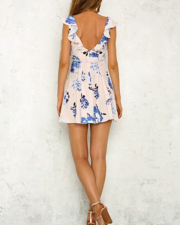 Zola Floral Mini Dress - Blue | Flirtyfull.com