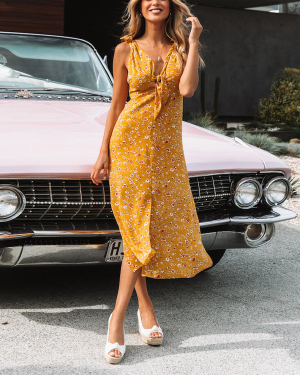 Girls Like You Boho Midi Dress - Yellow | Flirtyfull.com