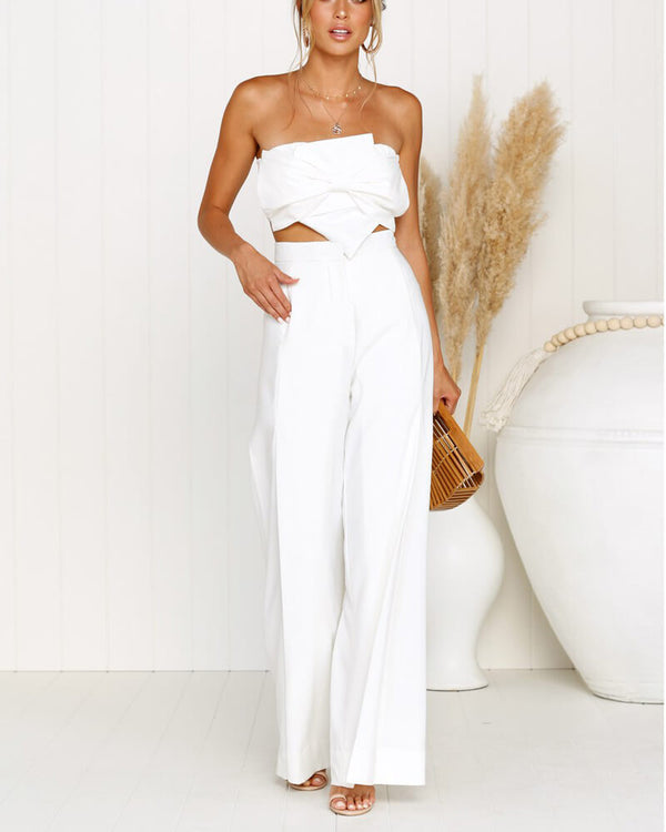 Gloria High Waisted Wide Leg Trousers - White | Flirtyfull.com
