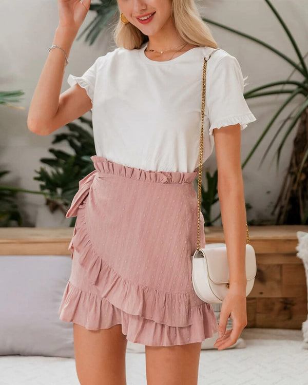 Gregory Wrap Mini Skirt - Pink | Flirtyfull.com