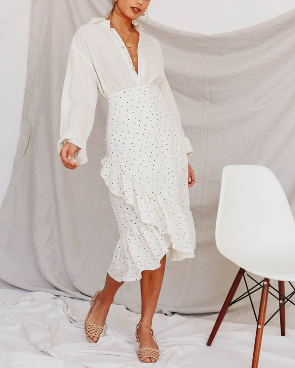 Hands on Me Polka Dot Midi Skirt - White | Flirtyfull.com