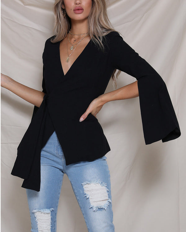 Holiday Crossover Blouse - Black | Flirtyfull.com