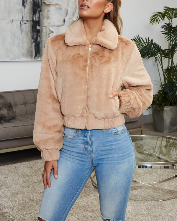 Holly Faux Fur Crop Winter Jacket - Nude | Flirtyfull.com