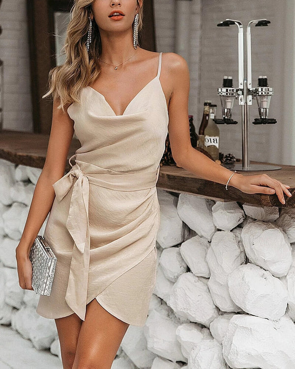Holocene Coctel Party Satin Mini Dress - Nude | Flirtyfull.com