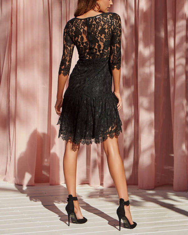 Hot Cider Lace Asymmetrical Dress - Black | Flirtyfull.com