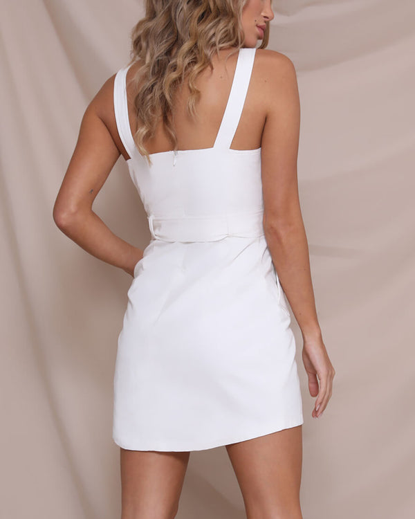 Imogen Trench Dress - White | Flirtyfull.com