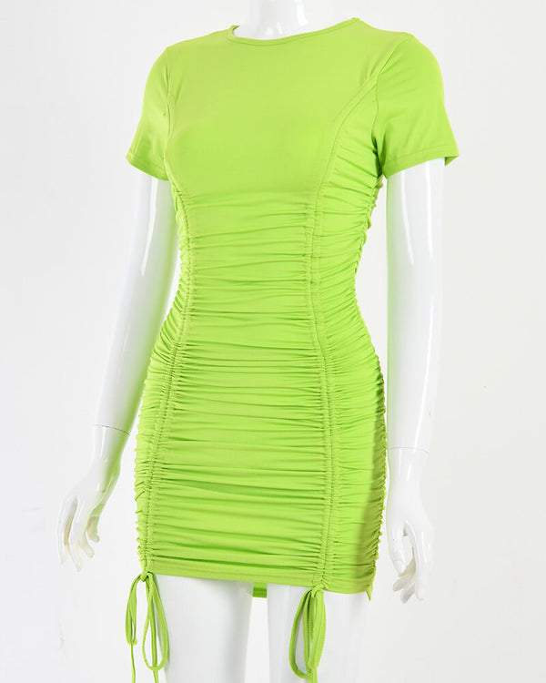 Iva Ruched Pleated Bodycon Mini Dress - Neon Green | Flirtyfull.com