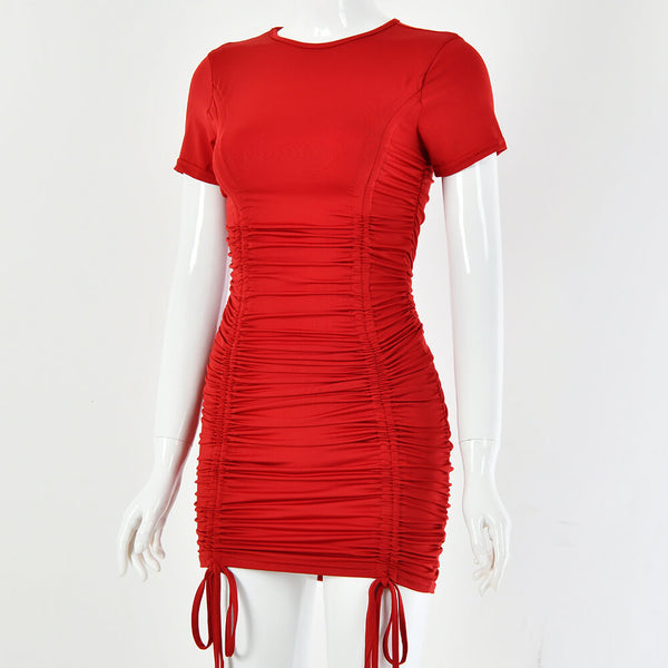 Iva Ruched Pleated Bodycon Mini Dress - Red | Flirtyfull.com