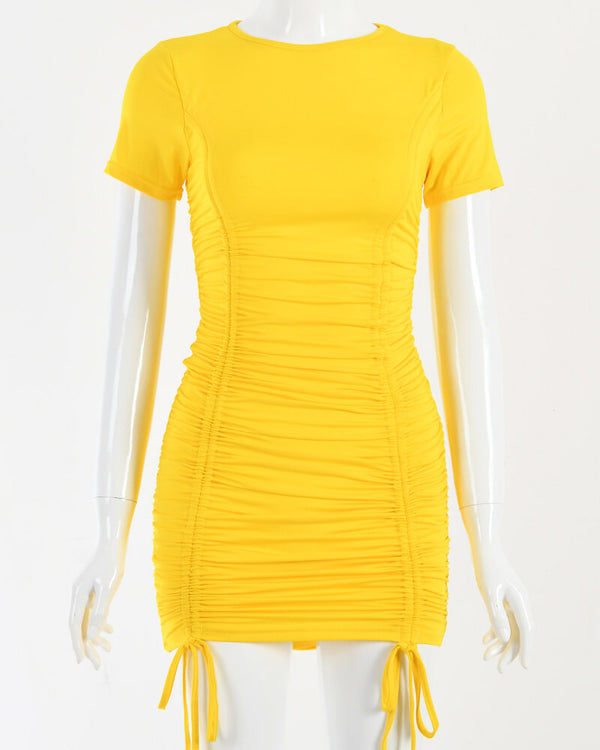 Iva Ruched Pleated Bodycon Mini Dress - Yellow | Flirtyfull.com