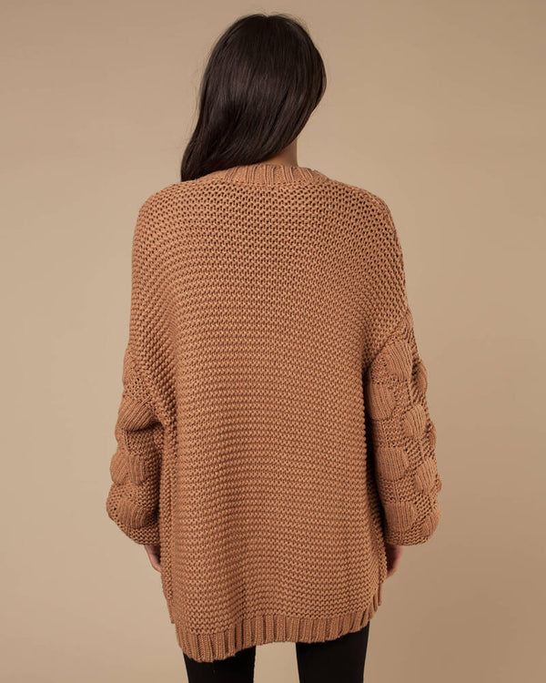 Joan Lantern Patchwork Knitted Cardigan - Orange | Flirtyfull.com