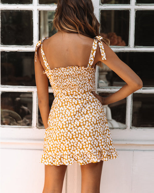 Jupiter Bow Strap Floral Dress - Yellow | Flirtyfull.com