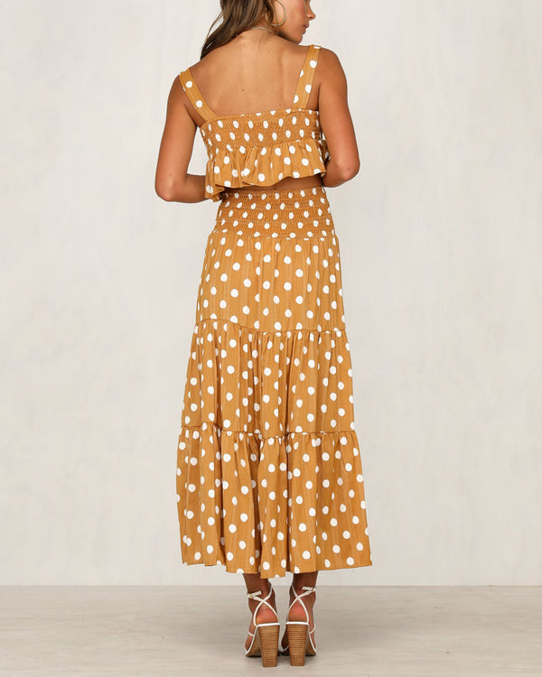 Kelly Polka Dot Two Pieces Set - Mustard | Flirtyfull.com