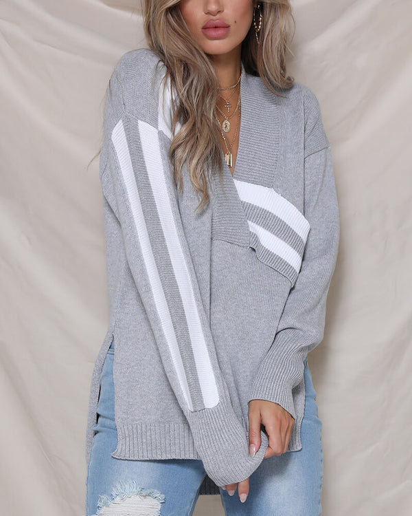 Kenna Patchwork Knitted Sweater - Grey | Flirtyfull.com