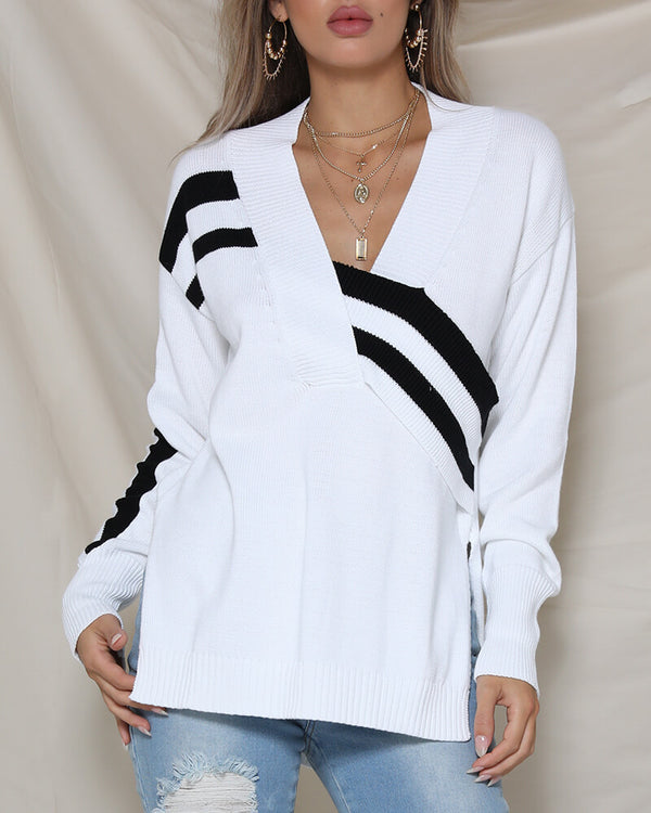 Kenna Patchwork Knitted Sweater - White | Flirtyfull.com
