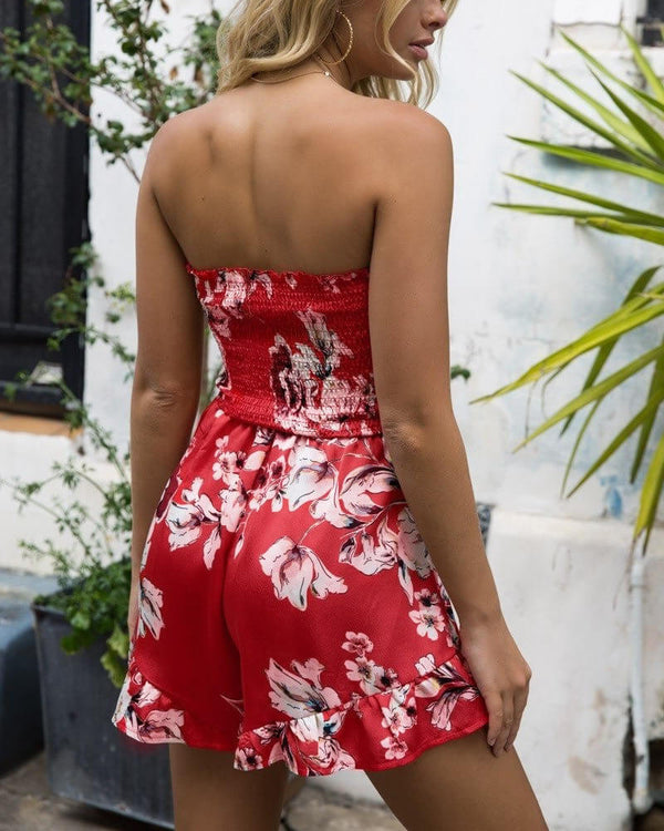Leia Floral Strapless Boho Playsuit - Red