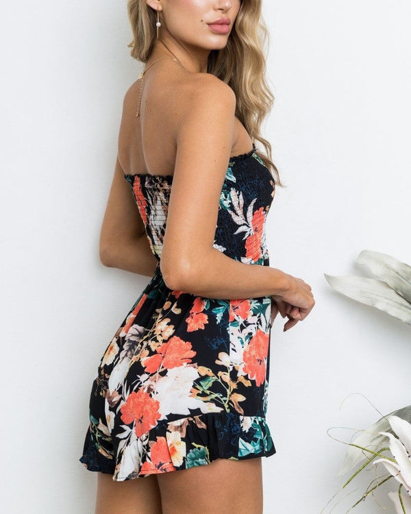 Leia Tropical Strapless Boho Playsuit - Navy