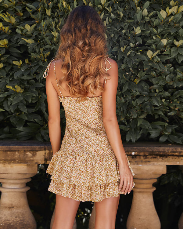 Lewis Floral Ruffle Dress - Yellow | Flirtyfull.com