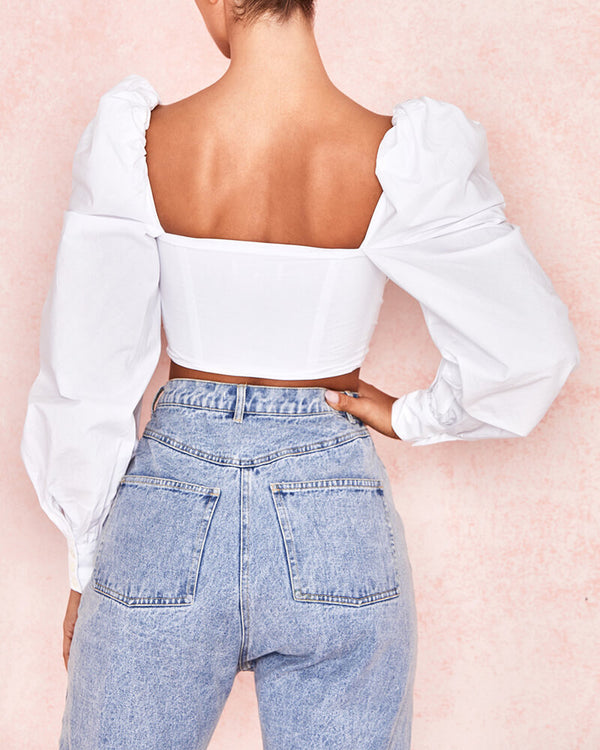 Lincoln Lace Up Corset Puffy  Crop Top - White | Flirtyfull.com