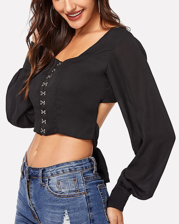 Lola Eyelet Closure Backless Blouse - Black | Flirtyfull.com