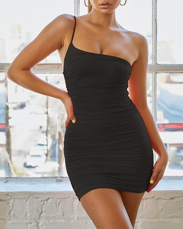 Loni One Shoulder Bodycon Dress - Black | Flirtyfull.com