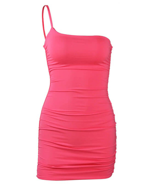 Loni One Shoulder Bodycon Dress - Hot Pink | Flirtyfull.com