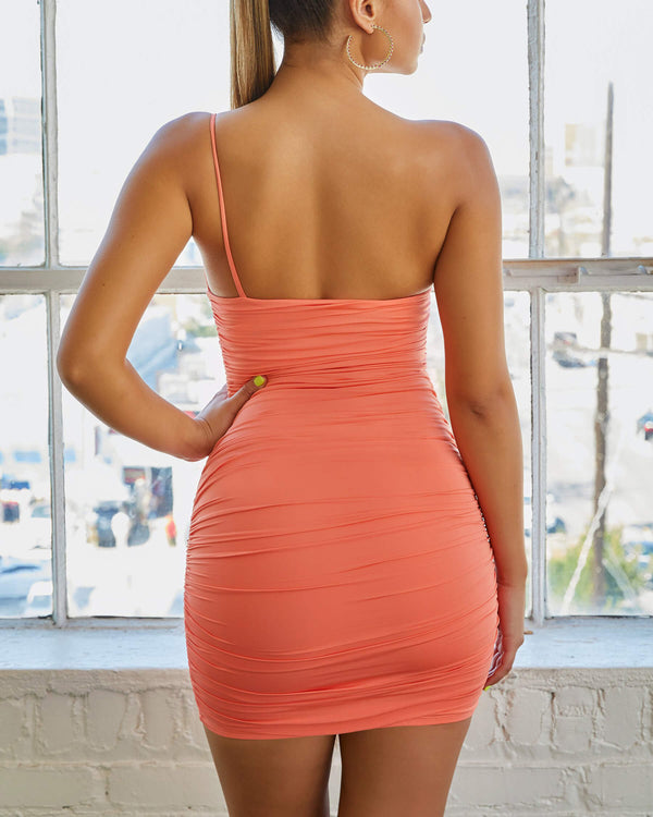 Loni One Shoulder Bodycon Dress - Neon Orange | Flirtyfull.com